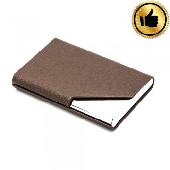 Leather Type Name Card Holder - Brown (BEST)