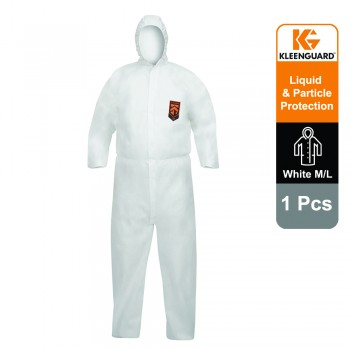 KleenGuard™ A40 Liquid & Particle Protection Hooded Coveralls 97920 - White, L, 1x1 (1 total)