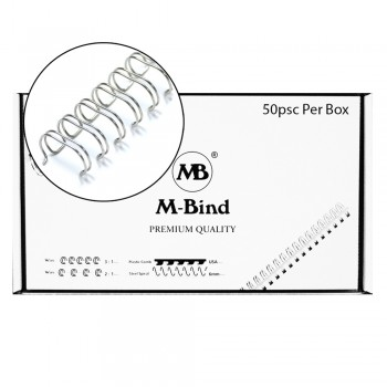 "Double Wire Bind 3:1 A4 - 5/8""(16mm) X 34 Loops, 50 pcs/box, Silver"