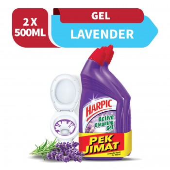 Harpic Lavender Toilet Cleaning Gel 500ml x2 (Value Pack)