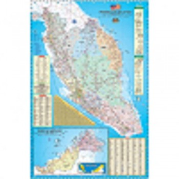 "Map Of Malaysia Road Map & Highway Guide M122M - (Magnetic) H24"" x W36"""