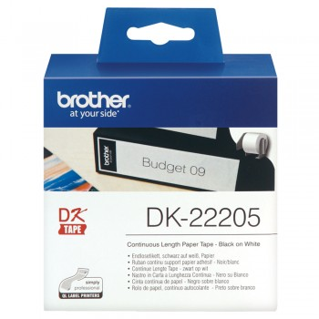 Brother DK22205 Continuous Length Paper Tape - 62mm x 30.48m